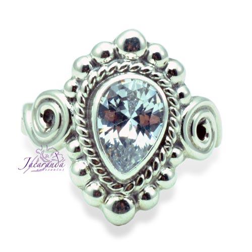 Anillos de plata 925 con piedra de Cristal Facetada 16 mm