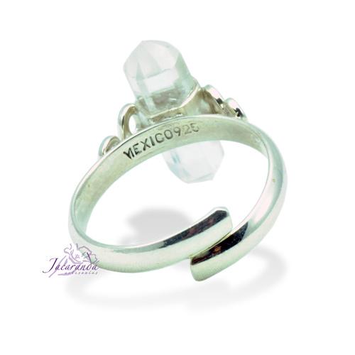 Anillo de plata 925 con piedra Cristal de Roca punta talla Ajustable