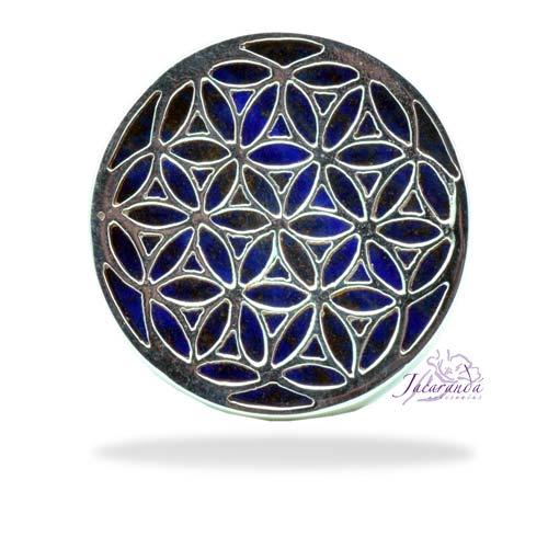 Anillo de plata 925 flor de la vida y Lapislázuli 20 mm
