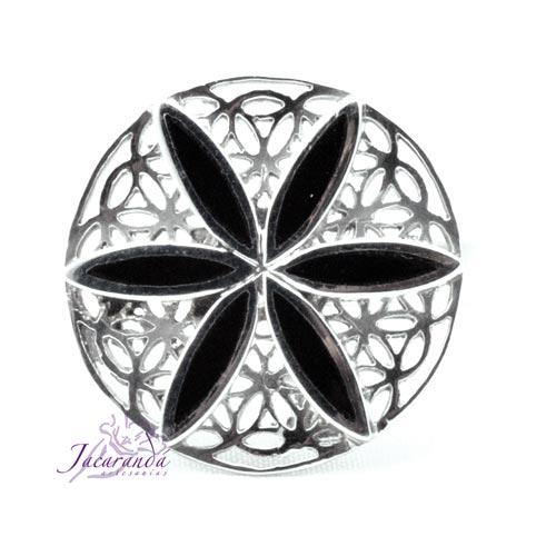 Anillo de plata 925 Flor de la vida y Onix 20 mm