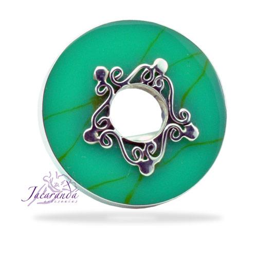 Anillo de plata 925 circulo turquesa centro decorado
