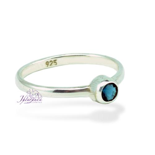 Anillos de plata 925 alianza strass azul 17 mm