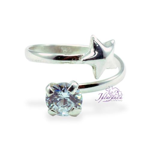 Anillo de plata 925 Strass color cristal y Estrella (Ajustable)