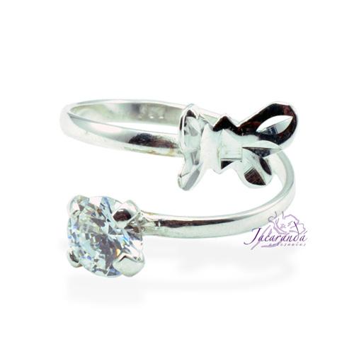 Anillo de plata 925 Strass color cristal y mariposa (Ajustable)