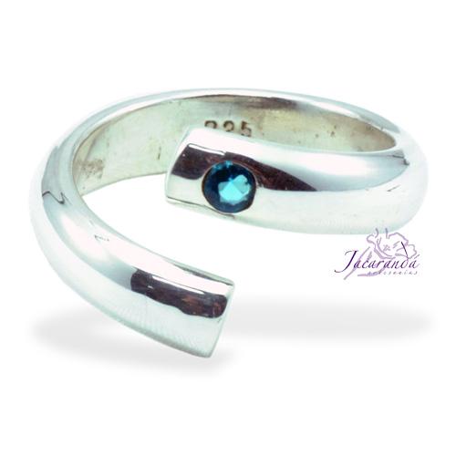 Anillo de plata 925 Strass color Cristal azul (Ajustable)