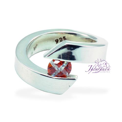 Anillo de plata 925 Strass color Cristal Rojo (Ajustable)
