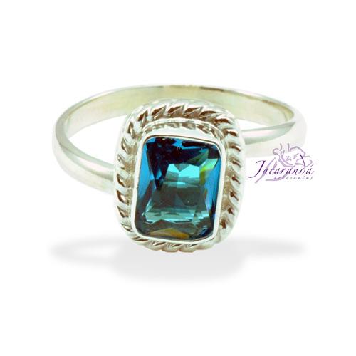 Anillo de plata 925 Strass color Cristal Agua marina (Ajustable)