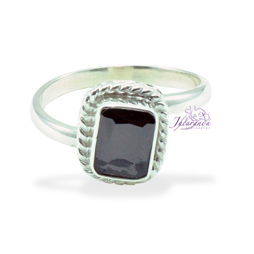 Anillo de plata 925 Strass color Cristal Amatista (Ajustable)