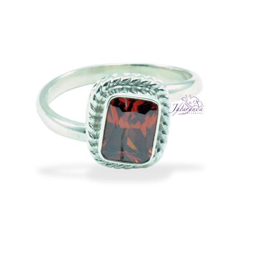 Anillo de plata 925 Strass color Cristal Rojo Rubí (Ajustable)