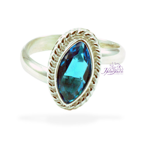 Anillo de plata 925 Strass color Cristal turquesa (Ajustable)