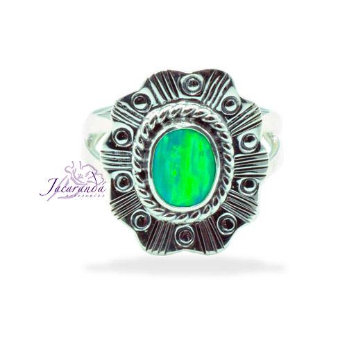 Anillo de plata 925 ópalo Verde 19 mm