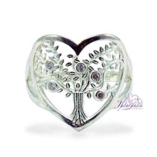 Anillo de plata 925 con circones cristal diseño corazón Árbol de la vida 15 mm