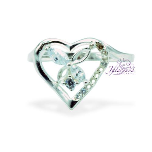 Anillo de plata 925 con circones cristal diseño corazón Flor 15 mm