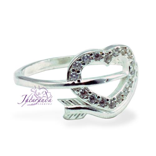 Anillo de plata 925 con circónes cristal diseño corazón cupido