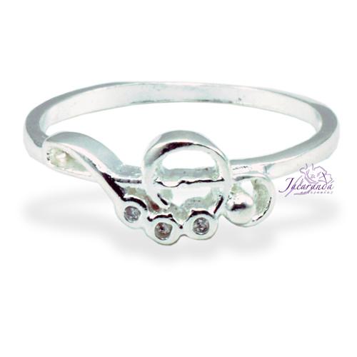Anillo de plata 925 con circones cristal diseño Clave de Sol 23 mm