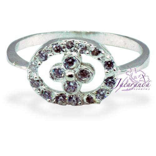 Anillo de plata 925 con circones cristal diseño Margarita 17 mm
