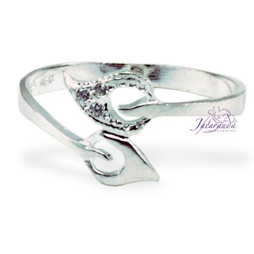 Anillo de plata 925 con circones cristal diseño Hojas 17 mm
