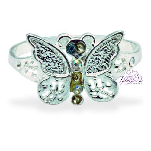 Anillo de plata 925 con circones cristal diseño Mariposas 15 mm