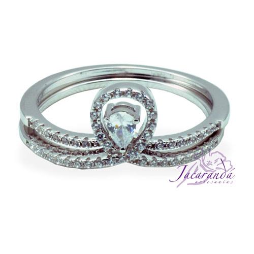 Anillo de plata 925 con circones cristal enchapado en rodio doble alianza
