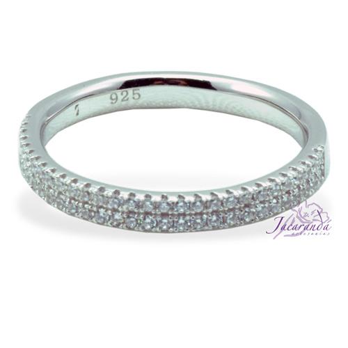 Anillo de plata 925 con circones cristal enchapado en rodio alianza 17 mm