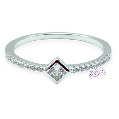 Anillo de plata 925 con circones cristal enchapado en rodio alianza centro cuadrado 16 mm