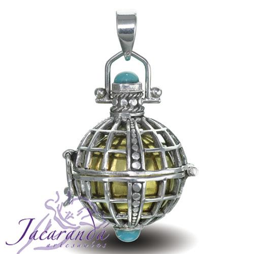 Llamador de ángeles plata 925 diseño Cesta y bolitas 18 mm