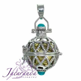 Llamador de ángeles plata 925 calado con piedra celtas bolitas 18 mm