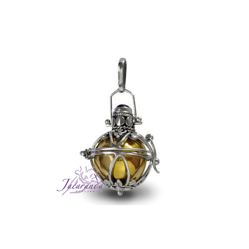 Llamador de ángeles de plata labrada en 16 mm.
