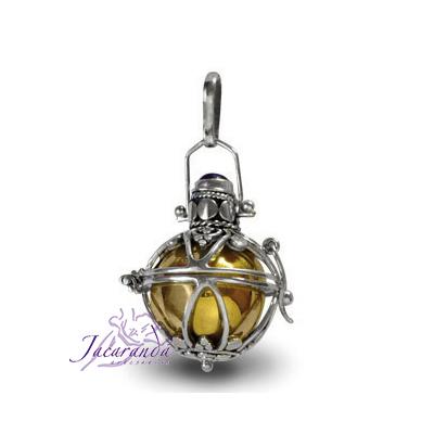 Llamador de ángeles labrado en plata de 18 mm.