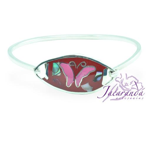 Pulsera enchapada en plata Centro rojo diseño Mariposa rosa