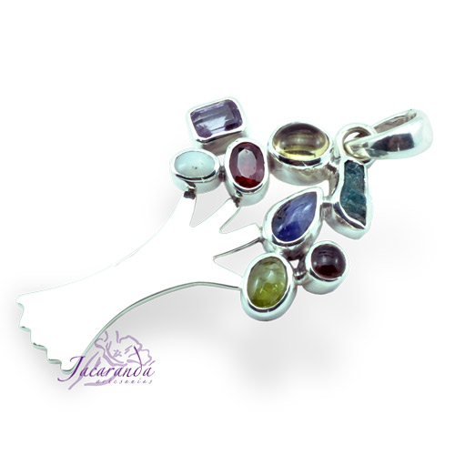 Colgante de plata 950 diseño Árbol de la vida con piedras