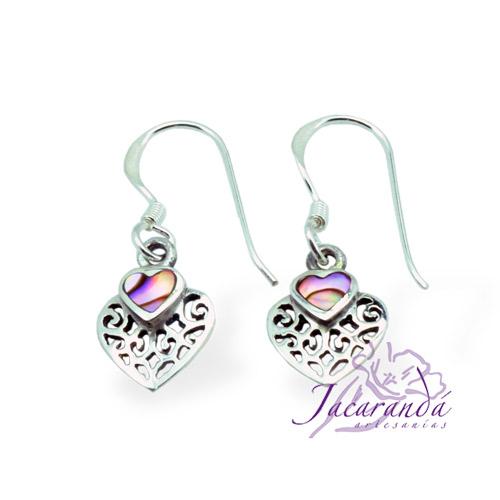 Pendiente de Plata 925 Filigrana diseño corazón con Nacar-Aliotis