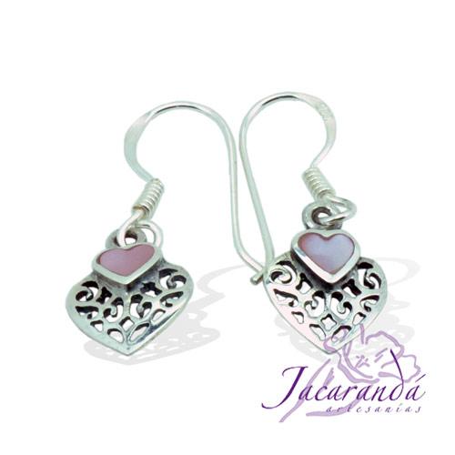 Pendiente de Plata 925 Filigrana diseño corazón con Nacar-Rosa