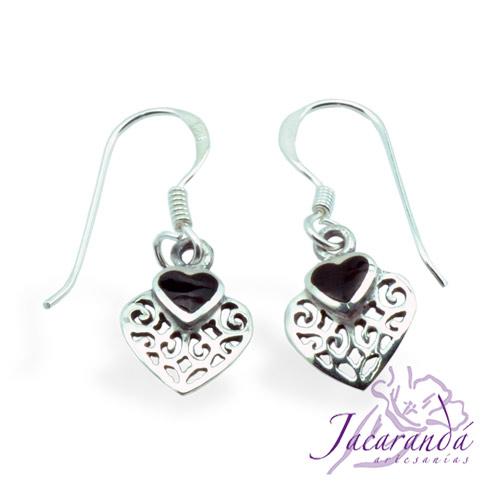 Pendiente de Plata 925 Filigrana diseño corazón con negro