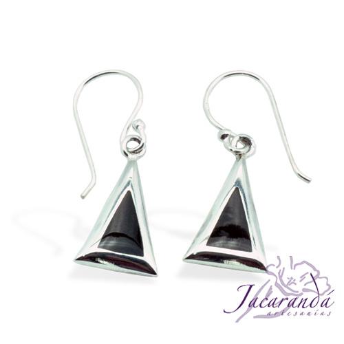 Pendiente de Plata 925 diseño triangulo con Onix