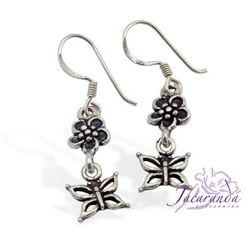 Pendiente de Plata 925 diseño Flor y Mariposa