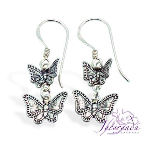 Pendiente de Plata 925 diseño filigrana de Mariposa doble