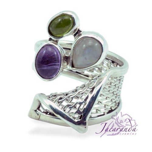 Anillo de plata 925 Con piedra de la Luna, Esmeralda y Amatista