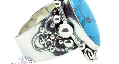 Anillo de plata 925 con piedra Turquesa Mexicana