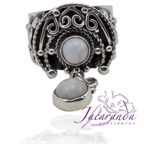 Anillo de plata 925 con colgantes de piedra de la Luna