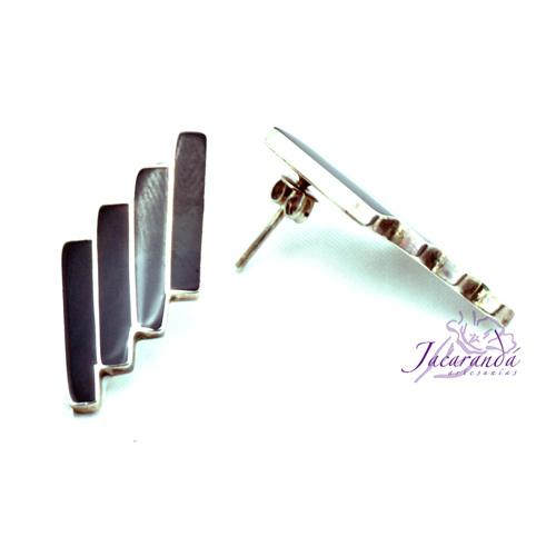 Pendiente Plata 925 diseño barras de Ónix