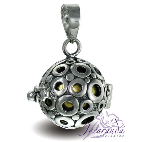 Llamador de ángeles de plata calada en 16 mm