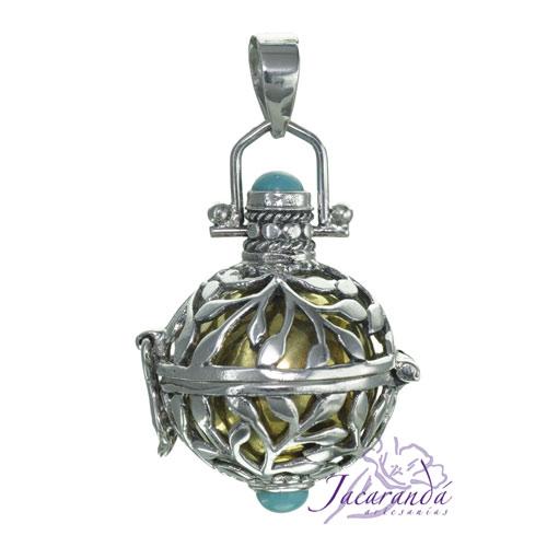 Llamador de ángeles de plata labrada en 19 mm