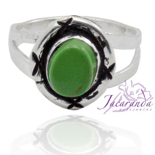 Anillo de alpaca enchapado en plata diseño Filigrana Circulo color Verde jade