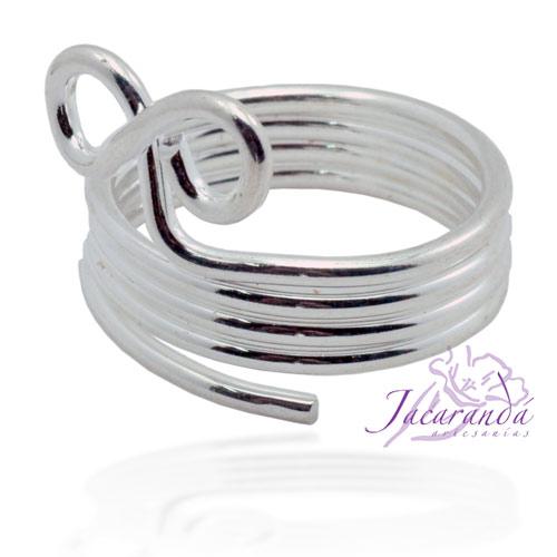 Anillo de alpaca enchapado en plata diseño Infinito de alambre
