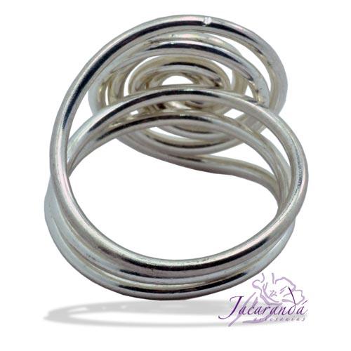 Anillo de alpaca enchapado en plata diseño Espiral de alambre