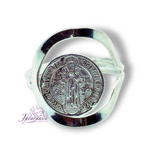 Anillo de alpaca enchapado en plata diseño Medalla San Benito