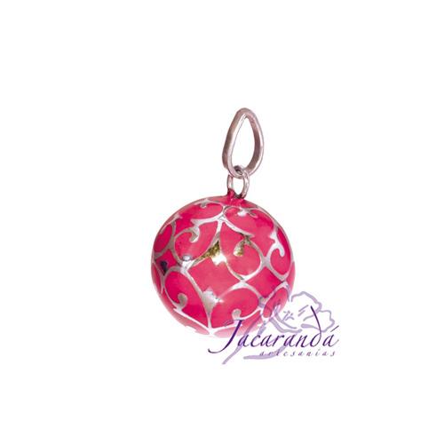 Llamador de ángeles Plata 925 con diseño Arabescos color Rosa 15 mm