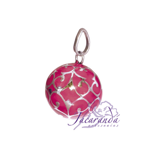 Llamador de ángeles Plata 925 con diseño Arabescos color Rosa
