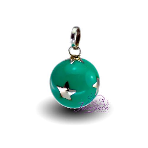 Llamador de ángeles Plata 925 con diseño estrellas color verde